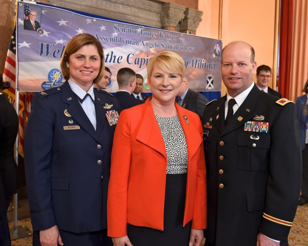 (L-R) Colonel Michele Kilgore, the Commander of the 109th Airlift Wing at the Stratton Air National Guard Base in Scotia, Assemblywoman Mary Beth Walsh and Colonel Joseph Morrow, Commander of the Wate