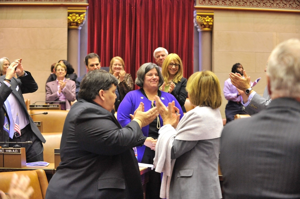 Assemblywoman Carrie Woerner is introduced to her Assembly colleagues