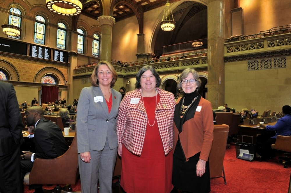 Assemblywoman Woerner welcomes Saratoga Springs Mayor Joanne Yepsen and Greenwich Town Supervisor Sara Idleman to the Assembly Chamber.