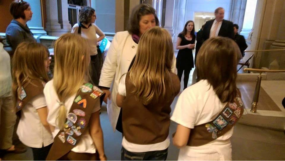 In May 2015, Assemblywoman Woerner joined a local Girl Scout troop as they toured the capitol and learned about state government.