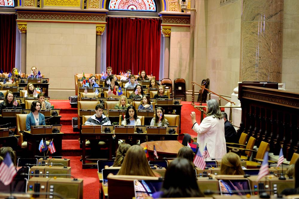 Assemblywoman Woerner welcomes Ballston Spa High School students to the New York State Assembly Chamber.