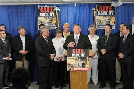 Assemblyman Ken Blankenbush (R,C,I-Black River) joins assembly members, disabled veterans, veteran business owners, Gold Star Mothers and Blue Star Mothers to promote the GIVE Back NY Program.