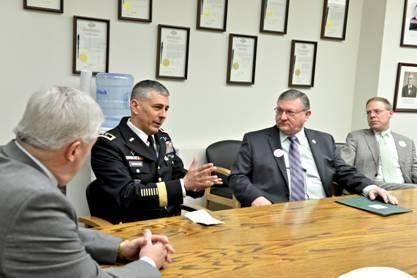 Assemblyman Ken Blankenbush (R,C,I-Black River) and Maj. Gen. Stephen J. Townsend discuss the positive impact Fort Drum has on the state, among other issues.