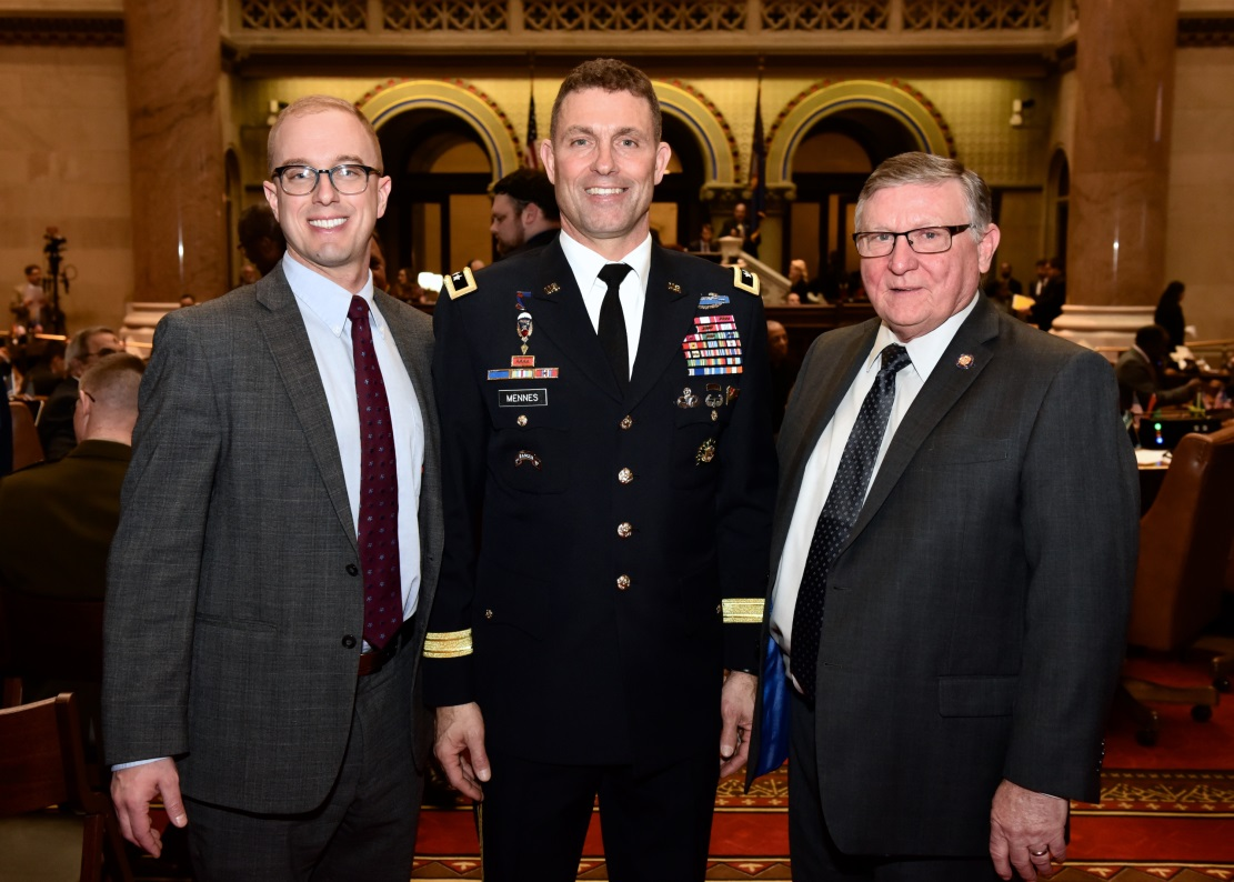 Assemblyman Ken Blankenbush (R,C,I-Black River) pictured with General Mennes and Assemblyman Mark Walczyk (R,C,I,Ref-Watertown) in celebration of Fort Drum Day in Albany on February 26, 2020.