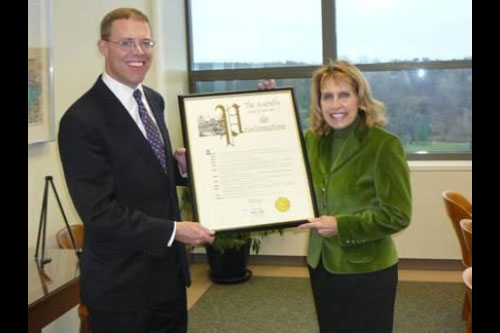 Assemblyman Will Barclay (R,C,I�Pulaski) presented SUNY Oswego President Deborah F. Stanley with an Assembly Proclamation, honoring the college�s 150 years of education.  The college was founded in 1861.  This year the college is hosting its Sesquicentennial Celebration with a number of special events.  Oswego is one of 13 university colleges in the SUNY system.  The college�s founder, Edward Sheldon, was known for his innovative teaching methods.