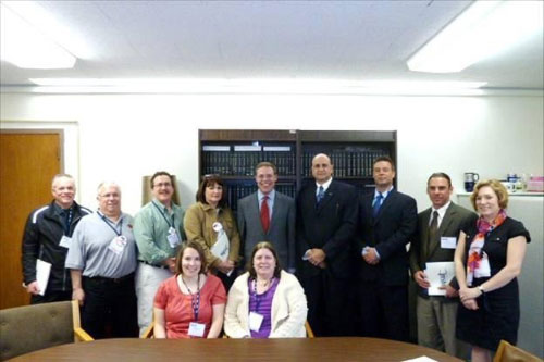 Assemblyman Will Barclay (R,C,I�Pulaski) met with teachers from throughout Central New York at his office in Albany.  From left, in front row, are Carrie Coniski (Fulton) and Pat Kush (Fulton).  From left, in back row, are Roger Burch (BOCES), Vern Borrowman (Mexico), Jim Waltros (APW), Carol Blackburn (Phoenix), Assemblyman Will Barclay, Paul Farfaglia (Jordan Elbridge), Doug Hickman (Jordan Elbridge), John Gosek (Pulaski), and Heather Gullo (Central Square).  They discussed school aid distribution and other matters affecting schools throughout Central and Upstate New York.
