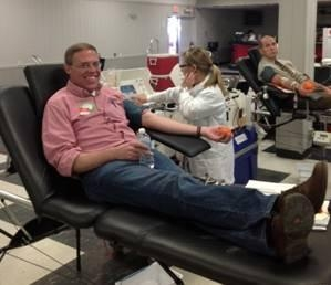Assemblyman Will Barclay donates blood at his Red Cross Blood Drive held at the Elks Lodge in Oswego. For every one pint of blood donated, it can save up to three lives.