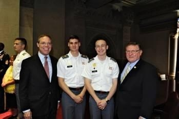 Assemblyman Will Barclay (R,C,I-Pulaski) (left) joined his legislative colleagues in celebrating West Point Day in Albany.  Cadets were welcomed to the Capitol and thanked for their service.  Cadet Nicholas Tyler, second from left, who graduated from South Jefferson High School, was among the cadets who attended. Cadet Tyler is slated to graduate from the academy in 2017. Also pictured is Cadet Brendan Lloyd from Watertown and Assemblyman Ken Blankenbush (R,C,I�Black River) (right).