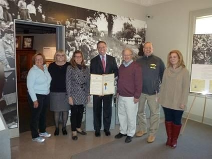 Assemblyman Will Barclay (R,C,I-Pulaski) recently presented the board members of the Safe Haven Museum and Education Center with a resolution memorializing Holocaust Remembrance Day.  The Safe Haven Museum and Education Center in Oswego commemorates the settlement at Fort Ontario that housed 982 refugees who escaped the Nazi regime in 1944. Pictured from left are board members Judy Coe Rapaport, Mary Ellen Barbeau, Dr. Nola Heidlebaugh, Assemblyman Barclay, President George DeMass, Brian Haessig, and Dr. Rhonda Mandel.
