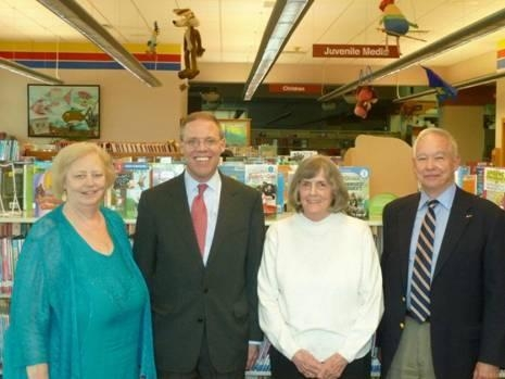 Assemblyman Will Barclay (R,C,I-Pulaski) recently visited the Baldwinsville Public Library to tour the library and meet with library personnel and trustees. Pictured from the left are Library Director Margaret Van Patten, Assemblyman Barclay, President of the Baldwinsville Public Library Board of Trustees Barbara Aitken, and Vice President of the Baldwinsville Public Library Board of Trustees Robert Manning.