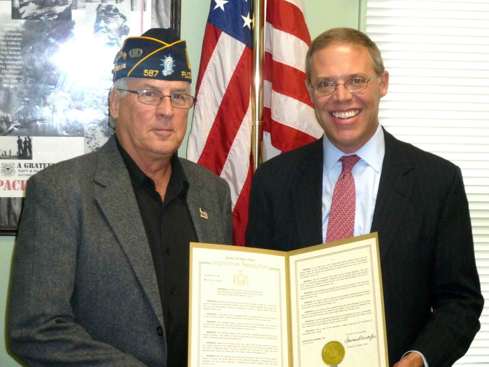 Assemblyman Will Barclay (R,C,I�Pulaski) recently presented veteran John Young with a State Assembly Resolution.  Young was named Veteran of the Year by the Fulton Veterans Council.  The award recognizes those who have served honorably in the military and who have contributed to the betterment of their community after being discharged.  Barclay�s resolution honors Young and makes his contributions part of official state record.