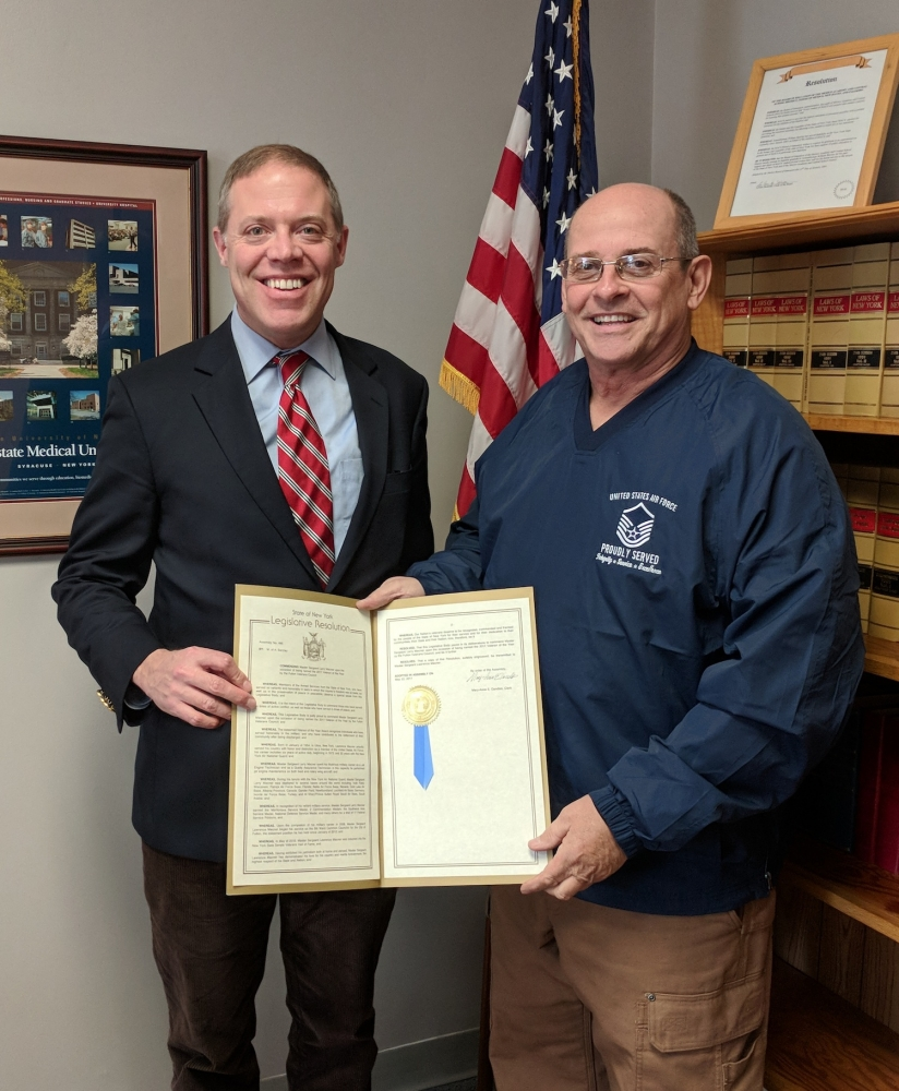 Assemblyman Will Barclay (R,C,I,Ref--Pulaski) recently presented Fulton resident and Fulton Common Councilor Larry Macner with an Assembly Resolution honoring him for being selected as the 2017 Vetera