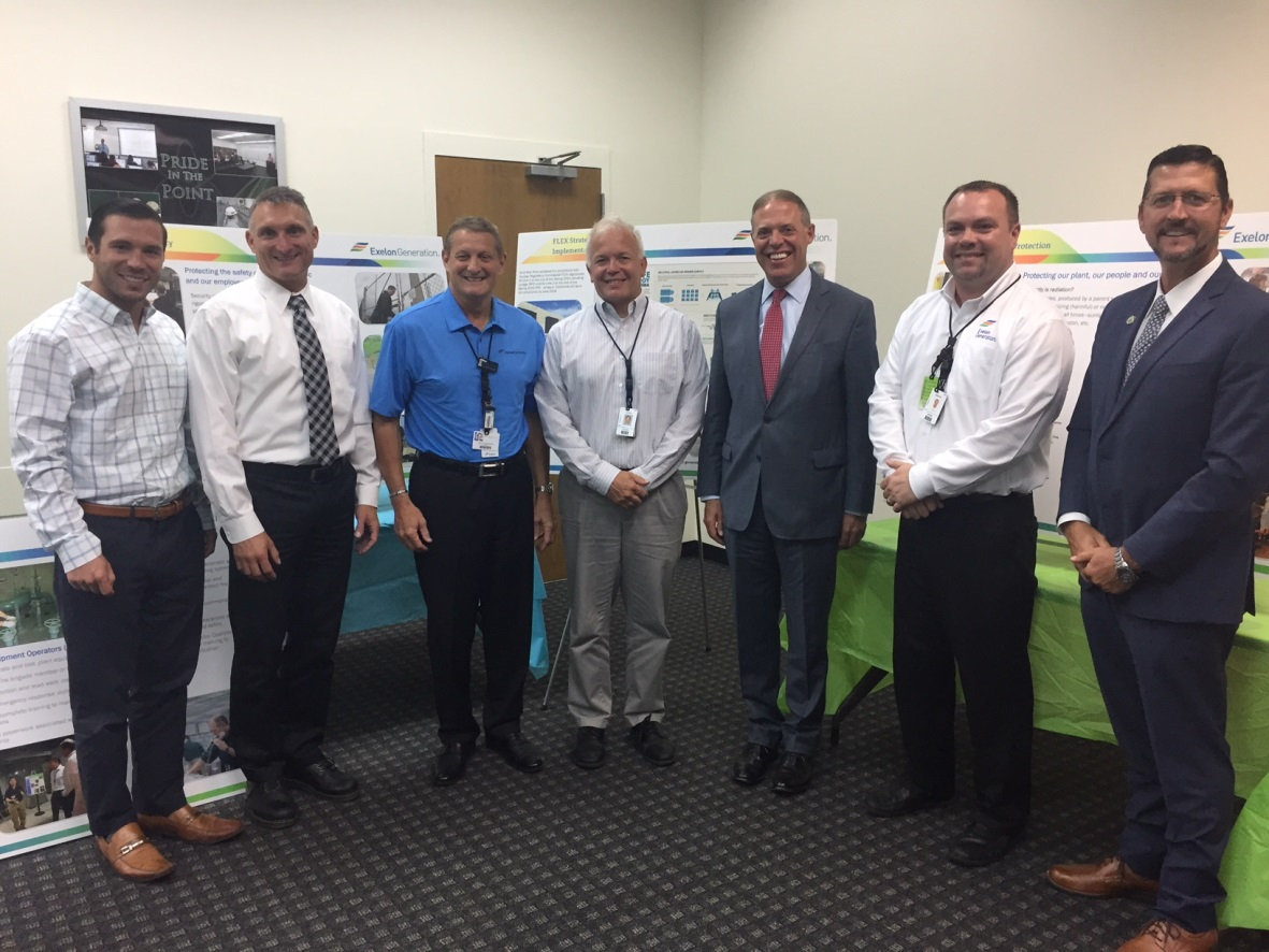 From left are Oswego Mayor Billy Barlow, Nine Mile Point Plant Manager Rob Kreider, Nine Mile Point Site Vice President Pete Orphanos, FitzPatrick Site Vice President Joe Pacher, Assemblyman Barclay,