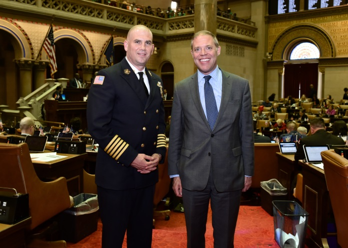 "Assemblyman Will Barclay (R,C,I,Ref-Pulaski) welcomed City of Fulton Fire Department Chief David Eiffe, left, to Albany on May 20 during National Emergency Medical Services week.  ""I'd like"