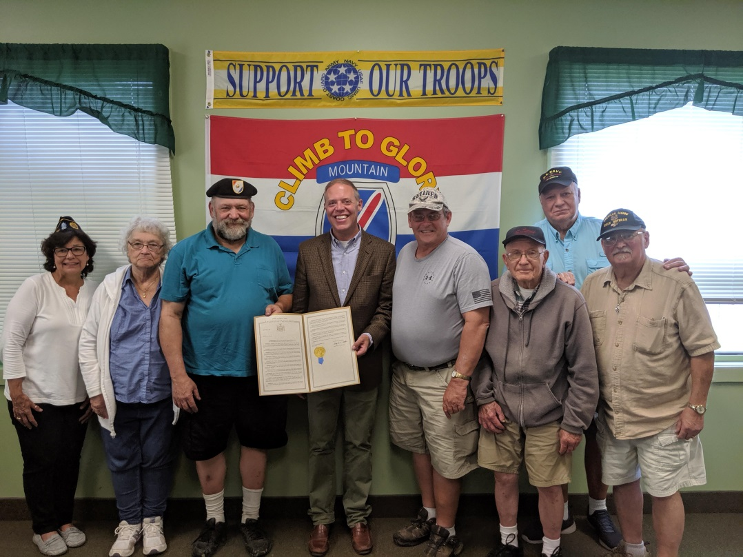 Assemblyman Will Barclay recently presented Garry Visconti with an Assembly Resolution honoring him for being named Fulton's Veteran of the Year.  Pictured with Barclay and Visconti in center are