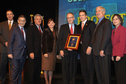 December 8, 2011 � Assemblywoman Donna Lupardo on stage for the Southern Tier's $50M award at Regional Economic Development Council Awards Ceremony