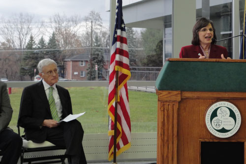 November 15, 2011 � Assemblywoman Donna Lupardo speaks at the Grand Opening for the new Science & Engineering Building at Binghamton University, which she helped secure funding for.