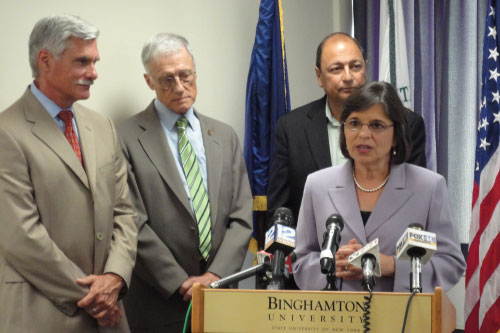 July 25, 2011 � Assemblywoman Lupardo at a press conference to announce a new partnership between Binghamton University and SUNY Upstate Medical University.