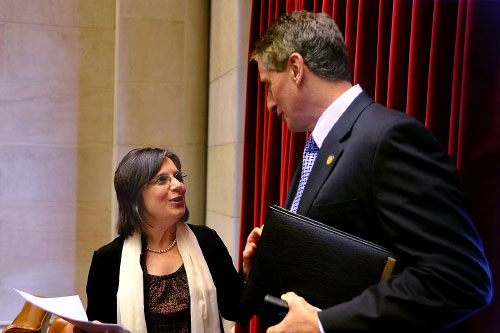 March 9, 2011 � Assemblywoman Lupardo speaks with Lt. Governor Duffy in the Assembly Chamber.