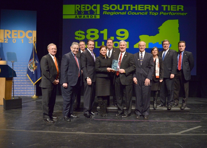 December 11, 2013 � Assemblywoman Donna Lupardo on stage as the Southern Tier accepts its $81.9 million top-performer award at the Regional Economic Development Council Awards ceremony.