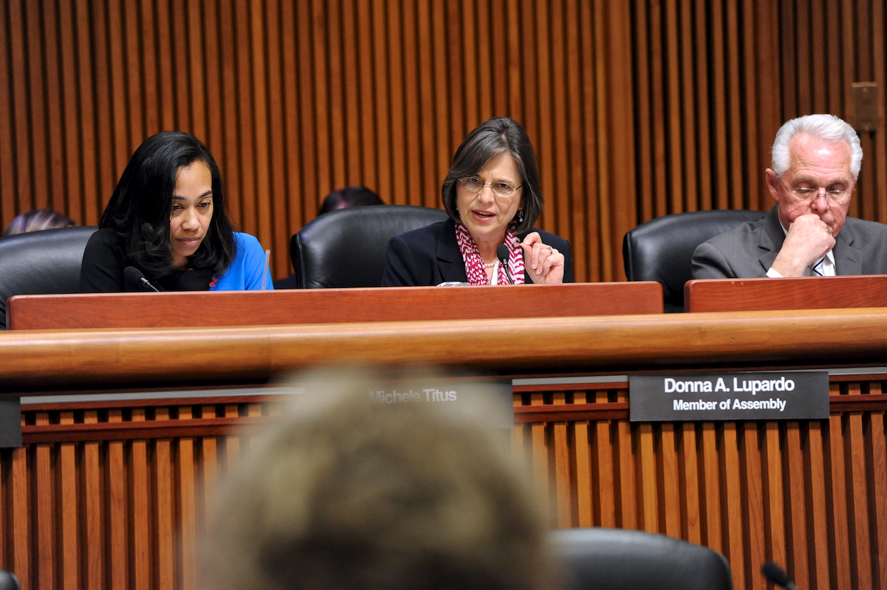February 4, 2014 � Assemblywoman Donna Lupardo participates in a budget hearing on Human Services with colleagues Assemblywoman Michele Titus and Assemblyman Cliff Crouch.