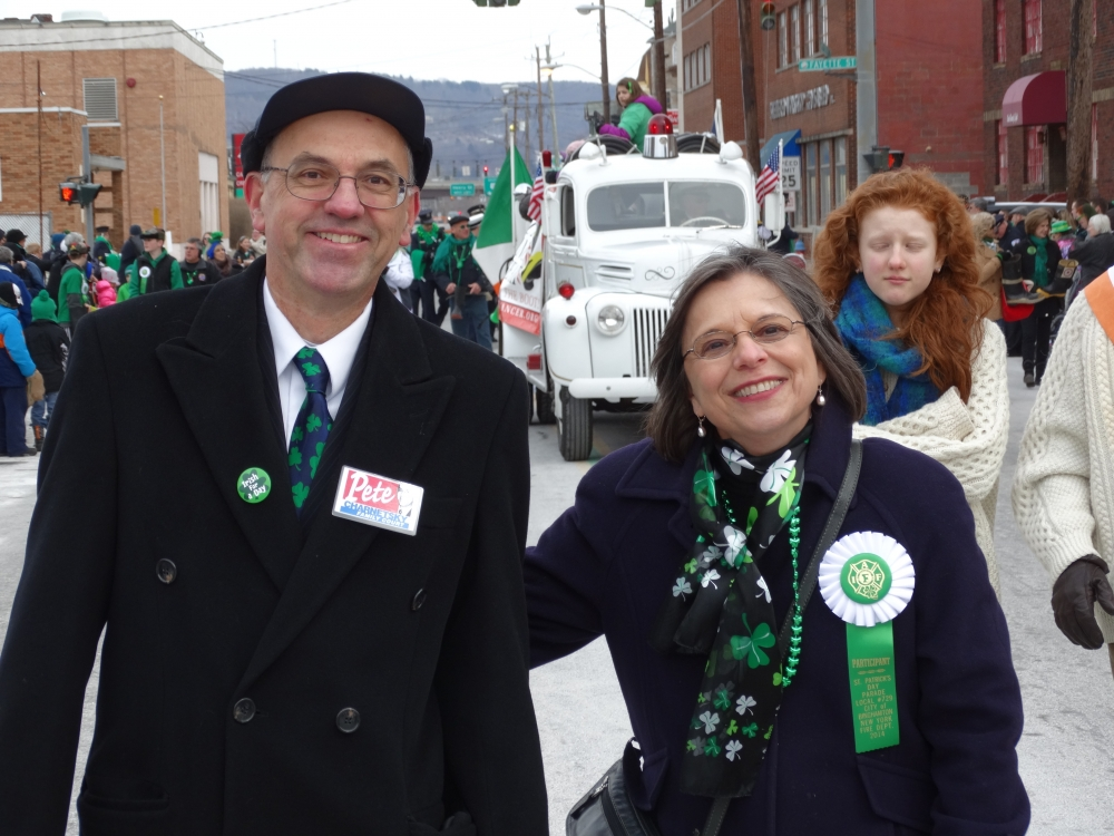 March 1, 2014<br>Hon. Peter Charnetsky, Broome County Family Court Judge, and Assemblywoman Donna Lupardo march down Court Street during the Binghamton St. Patrick�s Day Parade.