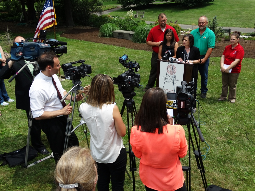 July 8, 2014: Local media listens in as Assemblywoman Lupardo announces new data and initiatives regarding agriculture in Broome County.