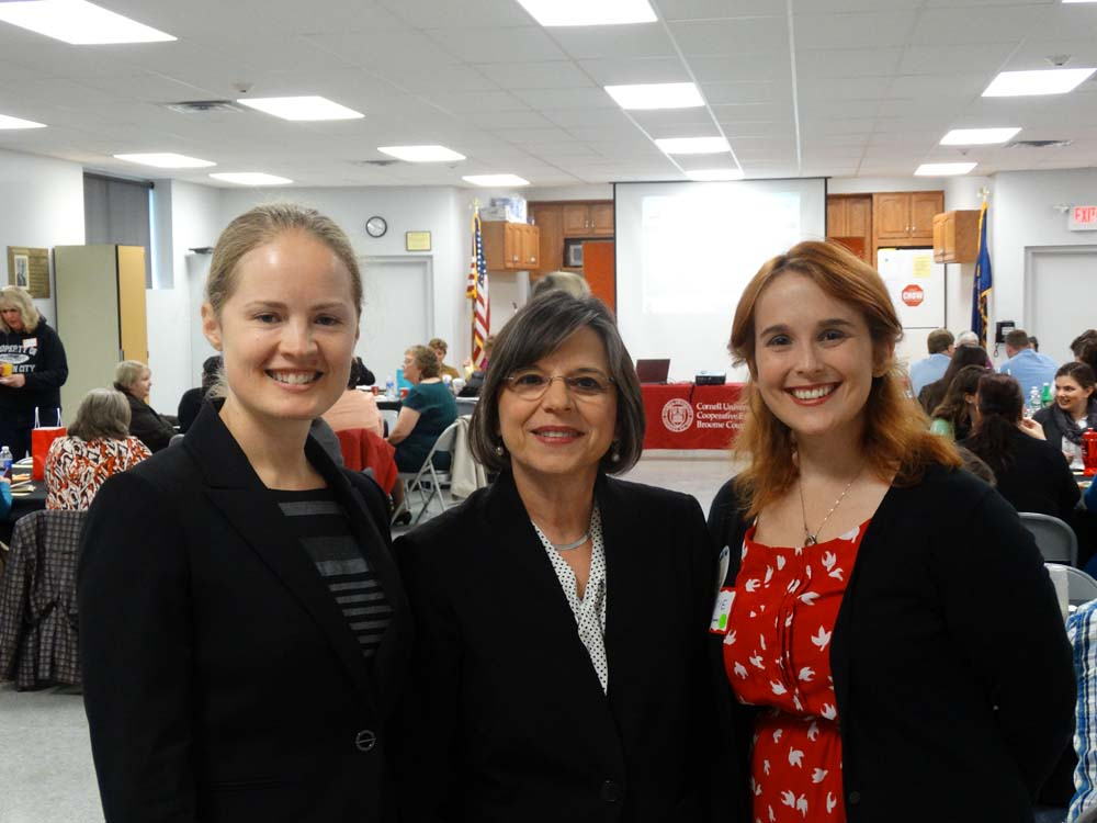 November 7, 2014 � Assemblywoman Donna Lupardo joins Nora Niedzielski-Eichner of NYSAN (left) and Katie Bowers of Cornell Cooperative Extension of Broome County (right) to launch the Expanded Learning Network of Broome & Tioga Counties.