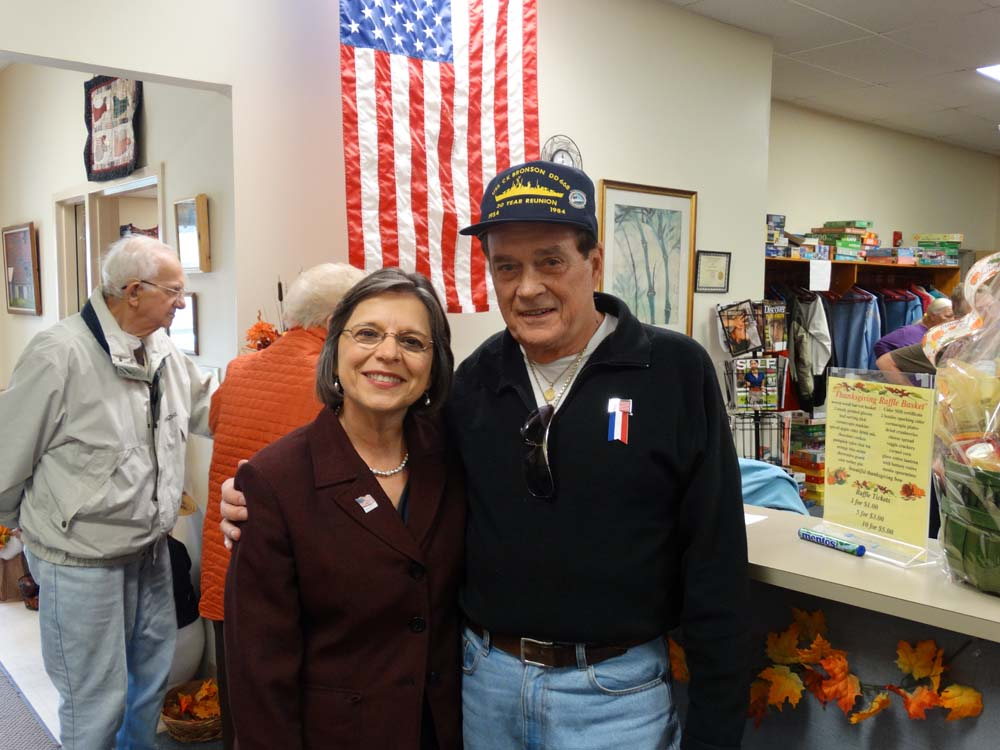 November 5, 2014 � Assemblywoman Donna Lupardo attends a Veterans Day Lunch at the Broome West Senior Center to honor men and women who served in our Armed Forces. Pictured with Assemblywoman Lupardo is Roger Faling, who served on the USS CK Bronson in Korea.