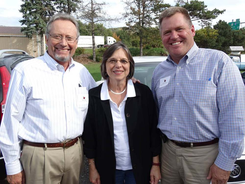 September 29, 2014 � Commissioner of Agriculture & Markets Richard Ball (left) and Deputy Secretary for Food & Agriculture Patrick Hooker (right) join Assemblywoman Lupardo for a tour of Broome County farms.