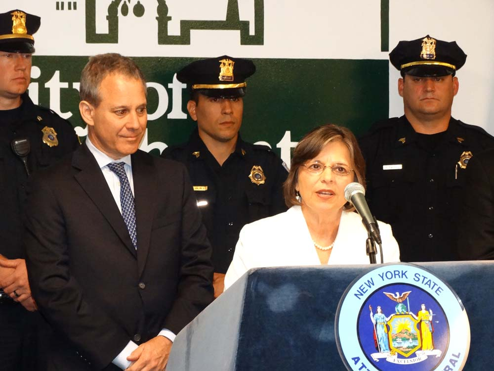 August 28, 2014 � Assemblywoman Lupardo joins Attorney General Eric Schneiderman as he announces funding to purchase new bulletproof vests for local police agencies.