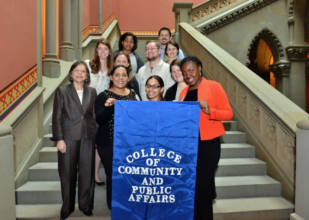 March 11, 2015 � Students from Binghamton University�s College of Community and Public Affairs join Assemblywoman Lupardo for a photo on the staircase outside the Assembly chamber.