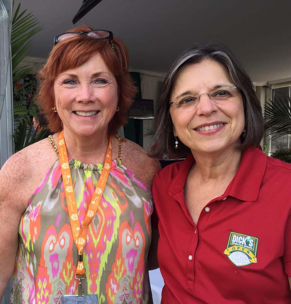 August 30, 2015 – Broome County Legislator Kim Myers and Assemblywoman Lupardo take in the final round of the Dick's Sporting Goods Open at En-Joie Golf Course in Endicott.