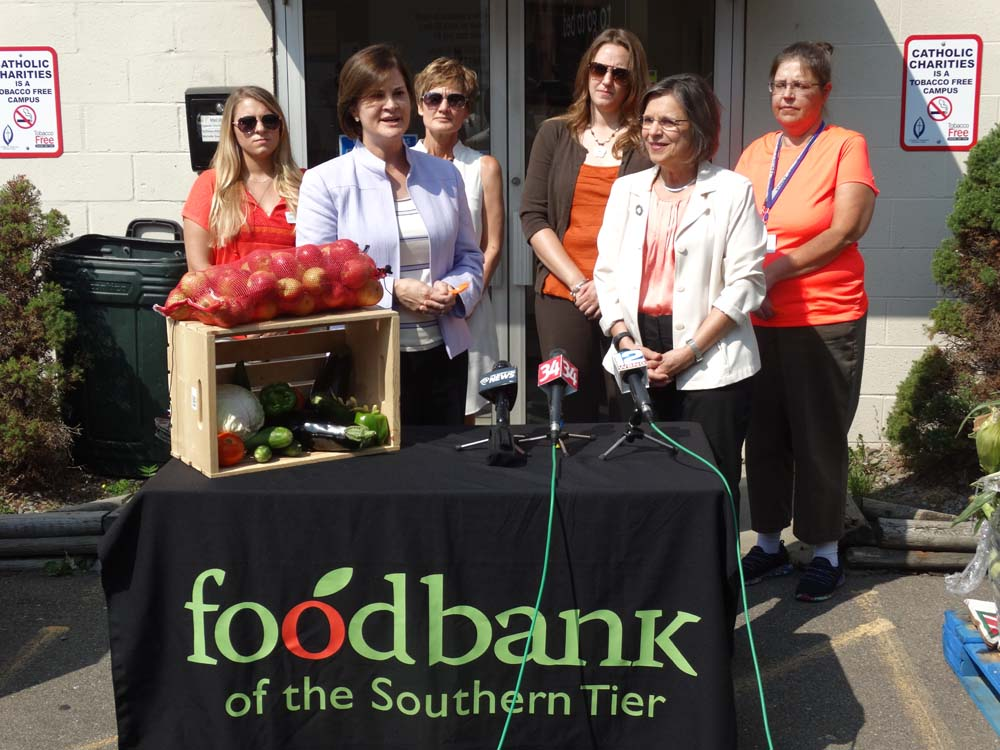 September 8, 2015 – The Food Bank of the Southern Tier and Assemblywoman Lupardo announce details of Hunger Action Month at Catholic Charities in Binghamton. Lupardo was able to secure a $25 thousand legislative grant to support Food Bank programs.