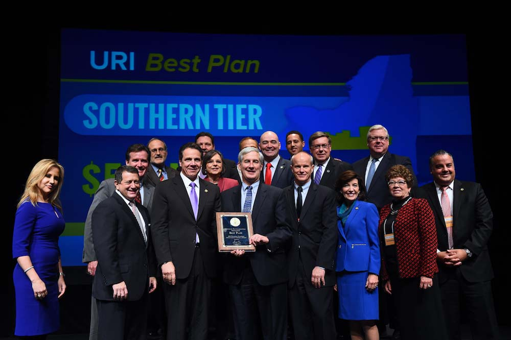 December 10, 2015 – Assemblywoman Lupardo and other representatives from the Southern Tier accept the region's award for the Upstate Revitalization Initiative's best plan. The Southern Tier will receive $500 million in economic development funds over the next five years.