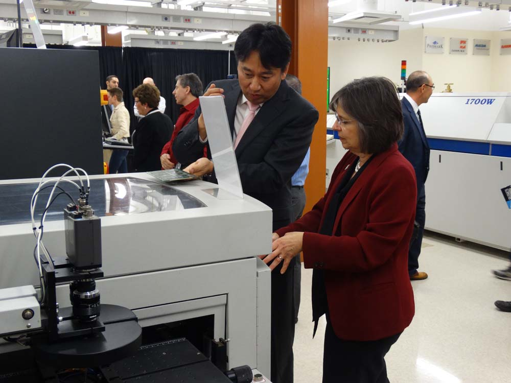 May 19, 2016 – Assemblywoman Lupardo learns about equipment in Binghamton University's new Smart Electronics Manufacturing Lab during its grand opening ceremony.