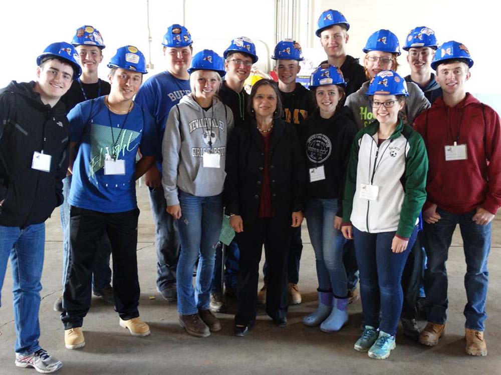 October 5, 2016 – Students attending the annual Southern Tier Construction Career Day pose for a photo with Assemblywoman Lupardo.<br />