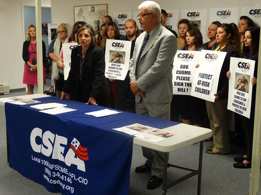 September 27, 2016 – Assemblywoman Lupardo joins CSEA call on the Governor to sign a bill I introduced and passed that would limit the number of caseloads for Child Protective Services workers.<br />