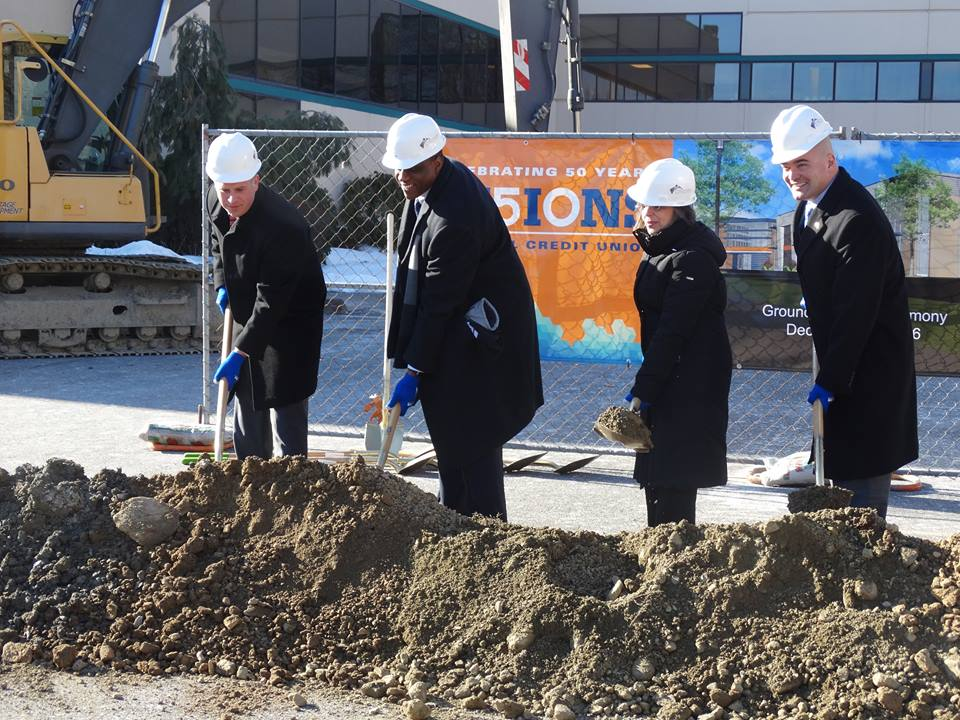 December 20, 2016 – Assemblywoman Donna Lupardo, Visions Federal Credit Union President/CEO Ty Muse, Senator Fred Akshar, and Broome County Executive Jason Garnar help break ground on Visions 91,000 sq/ft expansion that will add up to 200 jobs over the next ten years.<br />
