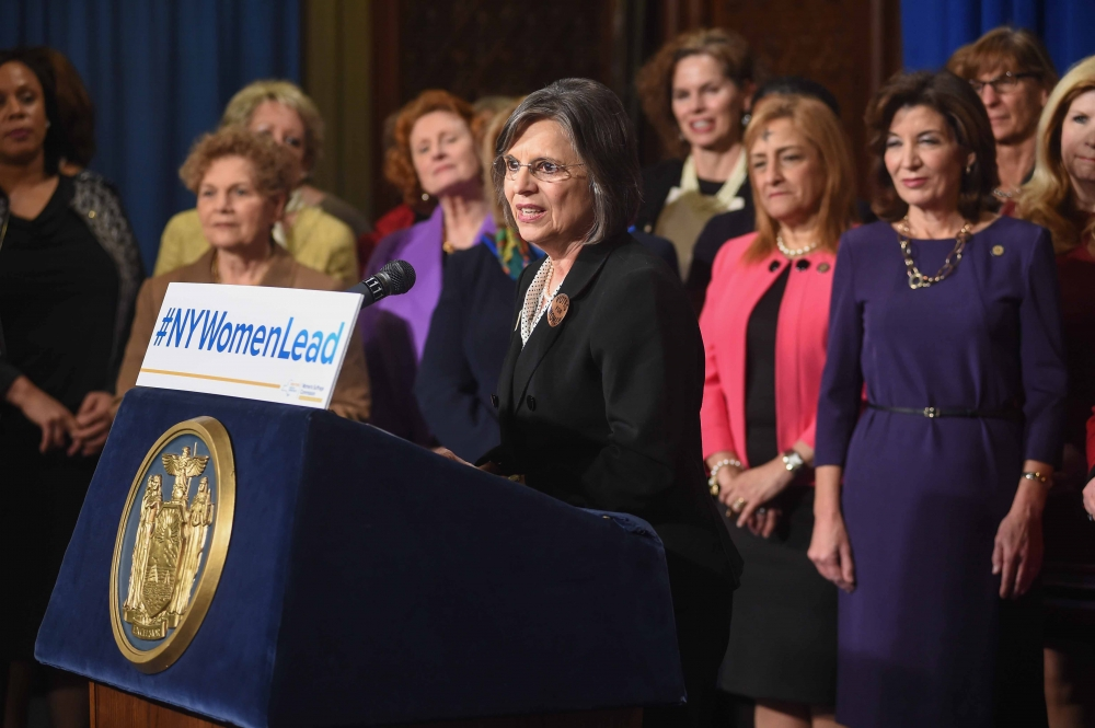 March 1, 2017 – Assemblywoman Lupardo joins Lieutenant Governor Kathy Hochul at a news conference to kick off Women's History Month.
