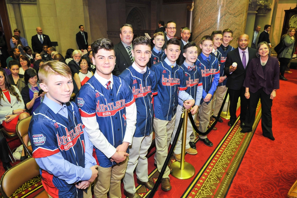 February 28, 2017 – Assemblywoman Lupardo and Speaker Carl Heastie with the 2016 Little League World Series Champions, Maine-Endwell.<br /> <br />