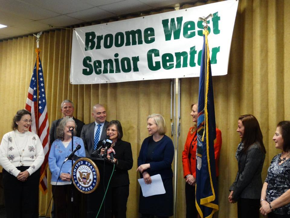 January 13, 2017 – Assemblywoman Lupardo joins Senator Kirsten Gillibrand at the Broome West Senior Center as she detailed her new legislation that aims to protect older residents from financial abuse.<br />