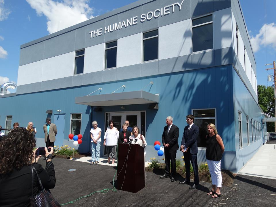 Assemblywoman Lupardo speaks at the grand opening of the Broome County Humane Society's new facility. Lupardo secured a $250 thousand Assembly Capital Grant to help with the building's construction.<br />