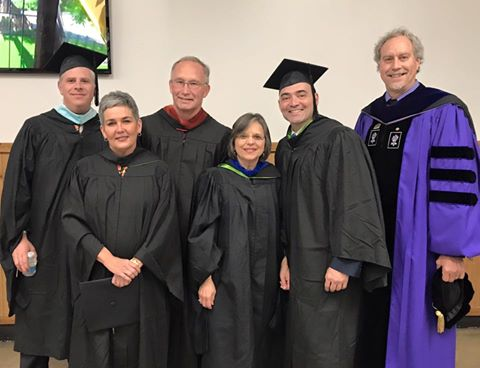 Assemblywoman Lupardo joins (l to r) County Executive Jason Garnar, Village of Endicott Trustee Eileen Konecny, County Legislator Mark Whalen, Senator Akshar, and President Kevin Drumm at SUNY Broome Community College commencement.<br />