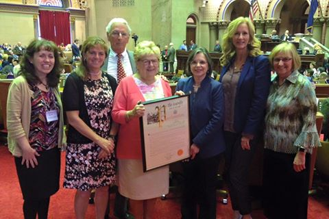 Assemblywoman Lupardo welcomes Jo Ann Freer, her husband, daughter, & representatives from the Broome County Office for Aging to the Assembly as Jo Ann was recognized as the 2017 NYS Older Volunteer of the Year.<br />