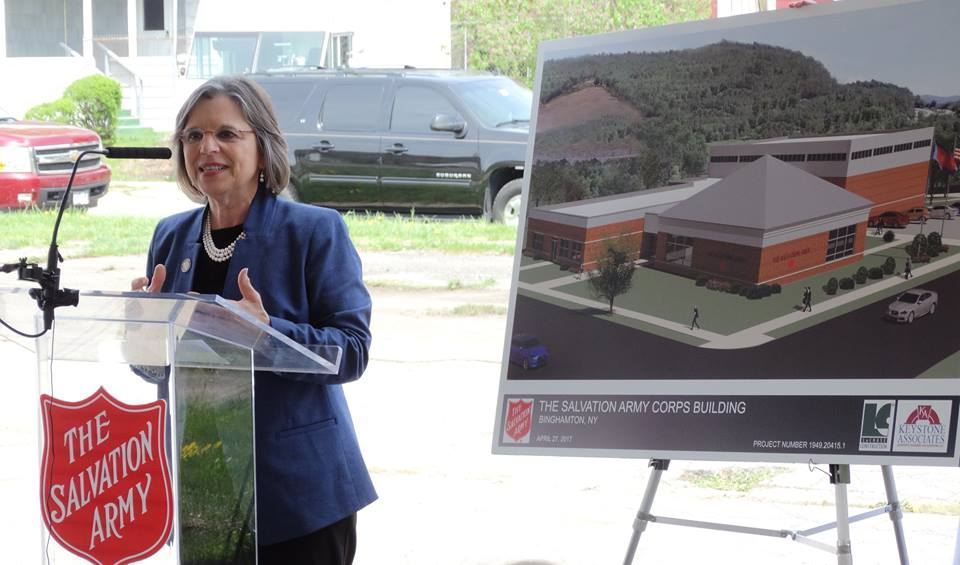 Assemblywoman Lupardo speaks at the groundbreaking of the Salvation Army's new North Side Job Training Center which will provide important training, education, and other wrap around services for residents in one location.