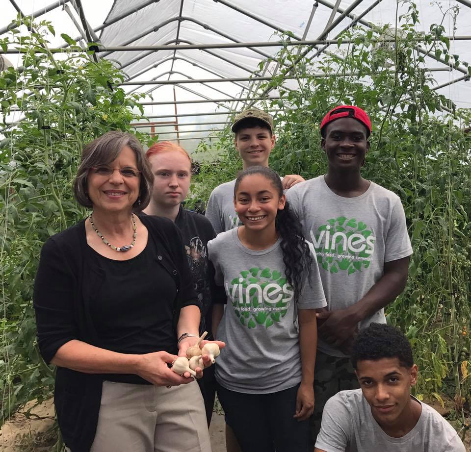 August 8, 2017 – Assemblywoman Lupardo meets with a group of young urban farmers at the VINES garden on Tudor Street in Binghamton.