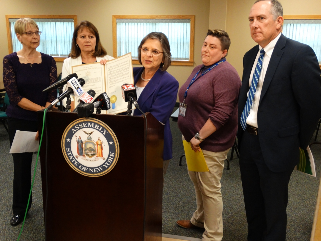 Joined by Janette Cyganovich of the Family Abuse Prevention Council, Lisa Schule of Broome County Office for Aging