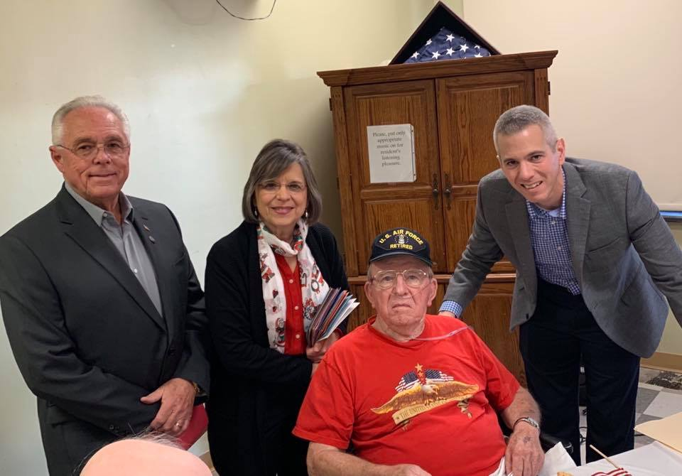 December 23, 2019 – Assemblywoman Lupardo, Assemblyman Cliff Crouch, and Rep. Anthony Brindisi visit with Ray Beebe at Willow Point Nursing Home. The three legislators delivered handmade cards to