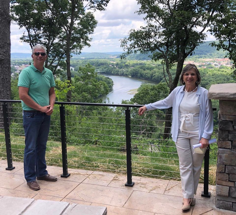 July 14, 2020 – County Executive Jason Garnar and Assemblywoman Donna Lupardo at the grand reopening of the scenic overlook at Round Top in Endicott.